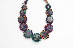 Fiber art necklace crochet jewelry with fabric от rRradionica