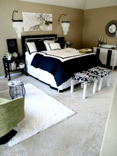 Navy and white bedroom love it. Probably would do grey walls instead though