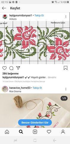 Cross Stitch Designs, Cross Stitch Patterns, Beaded Embroidery, Hand Embroidery, Cross Stitch Flowers, Palestine, Handicraft, Lana, Free Pattern