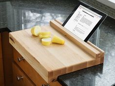 This Made in the USA, tablet-holding, edge-grain cutting board combines elegant design with modern functionality so you can easily follow your favorite recipes. Let the board hold your device for easy reading. Each board ages gracefully and stands the test of time.