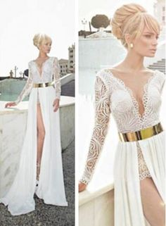 $169--2014 Sexy Lace White V-Neck Long Sleeve Chiffon Slit prom Dress FROM 27DRESS.COM