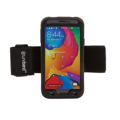 TuneBand for Samsung Galaxy S5, Premium Sports Armband with Two Straps and Two Screen Protectors (Black). Designed to fit a bare Samsung Galaxy S5 *only*. Durable silicone skin allows access to all ports, buttons, and cameras. Two (2) soft, elastic Velcro straps accommodate a wide variety of arm sizes. Two (2) screen protectors cover front of Samsung Galaxy S5, and contain no adhesive.