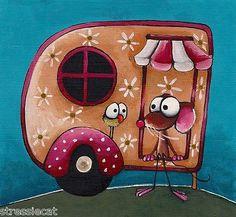 "Original Acrylic Folk Art Whimsical Painting Mouse Birds Floral camper 5 5""x 6""   eBay"