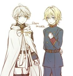 Slaine Troyard + Mikaela Hyakuya | Aldnoah.Zero + Seraph of the End | so i didnt know why there were so many pictures of slaine and mika clothes swapping...but now i realize they share the same voice actor owo