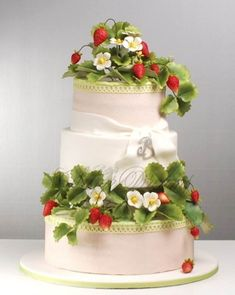 Hard to believe that the strawberry vine (fruit, leaves and flowers) decorating this cake are fondant too  By Betty's Sugar Dreams