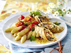 Gratinierte Crespelle mit Lachs oder Schinken zu weißem Spargel Rezept