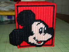 Handmade Plastic Canvas Mickey Mouse Tissue Box Cover. $15.00, via Etsy.