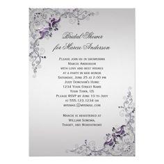 Ornate Purple Silver Floral Swirls Bridal Shower - Ornate Purple and Silver floral Swirls on a Silver Background. #bridalshower #ornate #purplesilver #zazzle