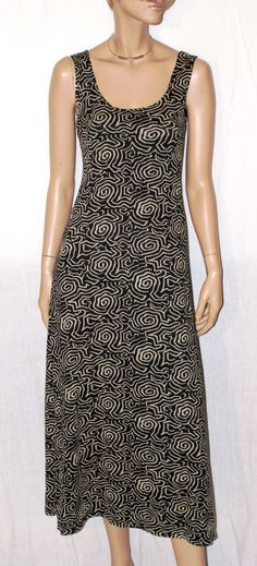 Sleeveless Long Dress Black & Beige Optical Pattern Vestito Lungo Nero Maxi…