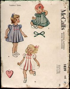 McCalls 1839 Vintage 1950s Toddler Girls by CemetarianHardCopy