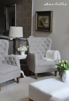 wingback chairs with side table