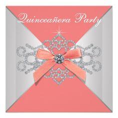 Coral Diamonds Coral Birthday Party Invitations #Quinceañera