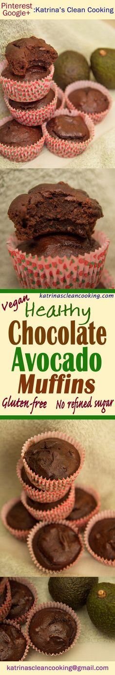 Healthy Chocolate Avocado Muffins: vegan, refined-sugar-free, eggless, can be gluten-free! NO butter/oil, contain avocado - but you can't taste it at all! Clean Eating Recipes, Healthy Eating, Free Recipes, Healthy Recipes, Healthy Muffins, Healthy Chocolate, Low Sugar, Tray Bakes, Recovery