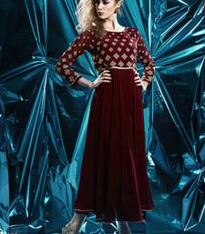 Buy Maroon Pure Georgette Stitched Kurti kurtas-and-kurti online