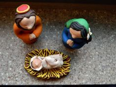 Nativity set, Sculpey III. At the age of 11 my dad asked me to make him a nativity set for his classroom. I sold them each Christmas for a few years, at about $50 each. This set is very small (they're usually 15-20 pieces) but a large improvement on the sets I used to make.