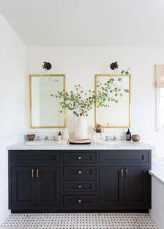 Home Decor Habitacion bathroom design with navy vanity, dark gray vanity, gold mirrors Best Bathroom Paint Colors, White Bathroom Paint, Grey Bathroom Vanity, Gray Vanity, Black White Bathrooms, Bathroom Sinks, Dark Gray Bathroom, Navy Bathroom, Double Mirror Vanity