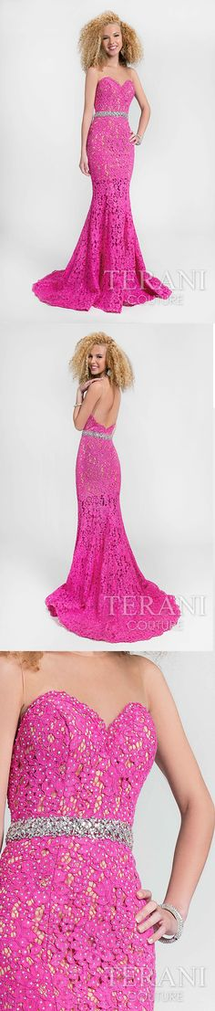 Bold fuchsia, designer prom dress crafted in corded lace over nude illusion yokes. This sweetheart neckline special occasion gown is fully decked out in crystal accents throughout its mermaid silhouette. Style: 1712P2645 #17SS #PromDress #PinkPromDress #Sweetheart #DesignerPromDresses #PromDresses