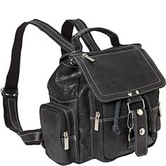 David King  Co. Distressed Mid Size Top Handle Backpack - Distressed Black - via eBags.com!