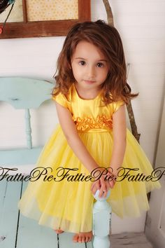 Yellow Flower Girl Dress by fattiepie on Etsy, $110.00  Adorable!