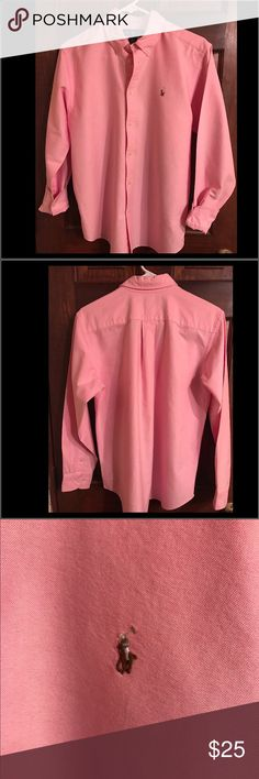 Men's Ralph Lauren Dress Shirt Yes real men DO wear pink😊 This is a gorgeous looking shirt that's in excellent condition. It's been well maintained and has no visible flaws. Ralph Lauren Shirts Dress Shirts