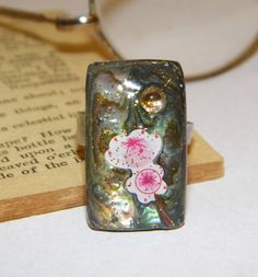 Floral Rectangular Artwork Abalone Ring with Swarovski by ArtLery, $13.00