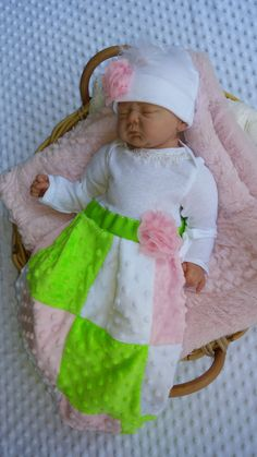 Newborn infant Boutique Baby layette beanie set gown shower Pink Minky take me home hospital gown first pictures upscale one of a kind by M2MBoutique on Etsy