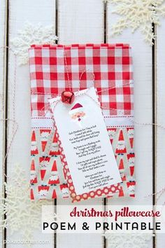 Christmas DIY: Free printable Chris Free printable Christmas pillowcase poem - what a cute idea a special pillowcase to use only on Christmas eve! Merry Christmas, Christmas Pillow, Diy Christmas Gifts, Christmas Projects, Holiday Crafts, Christmas Holidays, Christmas Decorations, Christmas Ideas, Holiday Ideas