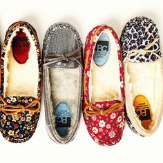Moccasins. This company has them in so many different fabrics and they're all fur lined! Christmas gift!!!!