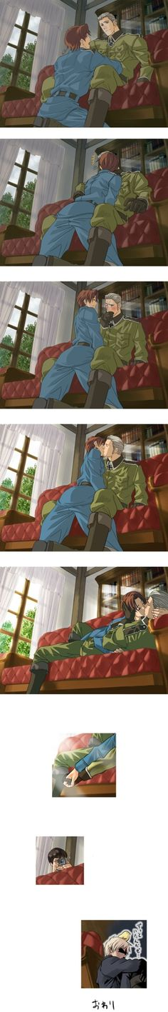 Germany and Italy... until Japan comes along and ruins it XD <<< and the Prussia in the last panel just XD