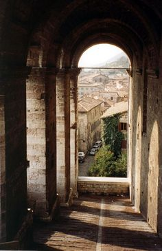 A view of Assisi, Italy, with the Basilica of Saint Francis in the background.