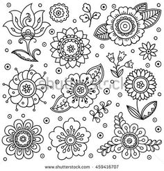 Vector flower pattern. Doodle style, spring floral background. Design element in Doodles style. Pattern for coloring book.