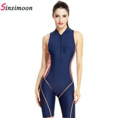 Zipper Professional Sports Swimsuit One Piece Patchwork Knee Long Swimwear Racing Bodysuit Sexy Backless Beachwear Bathing suit-in One-Piece Suits from Sports & Entertainment on Aliexpress.com | Alibaba Group