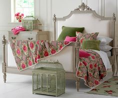 Beautiful Colors! Bed! Linens! Bird Cage! Beautiful!