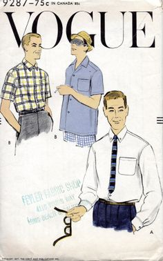 Vogue 9287 1950s Mens Sport Shirt  Pattern Mans vintage sewing pattern by mbchills