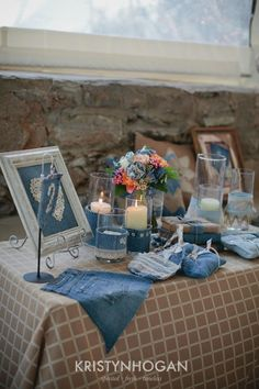 Old jeans turned table accents.... easy and cheap!Rustic Denim Wedding Inspiration from Cedarwood Weddings | Historic Cedarwood | All Inclusive Designer Weddings