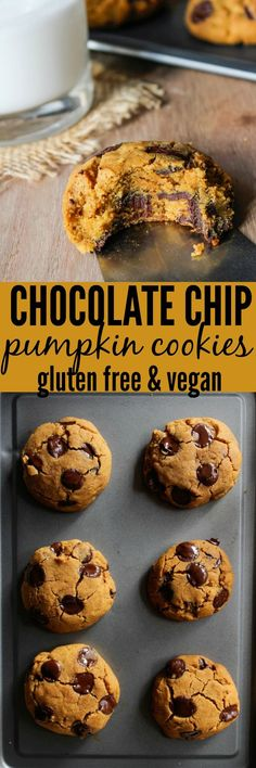 A gluten free, vegan, and low fodmap recipe for Chocolate Chip Pumpkin Cookies S. Sarah Ackerman desserts-fur-schokoladenstuckchen A gluten free, vegan, and low fodmap recipe for Chocolate Chip Pumpkin Cookies Sarah Nevins Gluten Free Pumpkin Cookies, Pumpkin Chocolate Chip Cookies, Gluten Free Treats, Vegan Treats, Vegan Foods, Dairy Free Recipes, Vegan Food List, Chocolate Muffins, Healthy Vegan Dessert