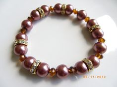 Brown reddish pearls gold crystal spacers amber glass beads stretch bracelet $10.00