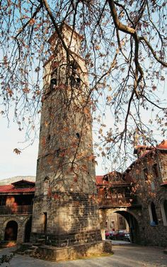 The bell tower with clock of Agia Paraskevi - Metsovo, Epirus, Greece