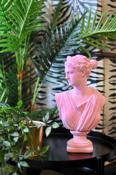 Pink Flock Classic Artemis Bust Quirky Decor, Unique Home Decor, Wild Nature, Artemis, Flocking, Sculptures, Statue, Retro, Classic
