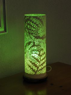 Fern design table lamp. Handmade with recycled PVC by GlowingArt