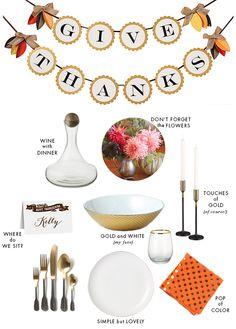 A gold and white #ModernThanksgiving via @Kelly Teske Goldsworthy | Fabulous K