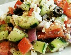 Gurke | Tomate | schwarze Oliven | Schafskäse | Zwiebel | Kräuter-Dressing