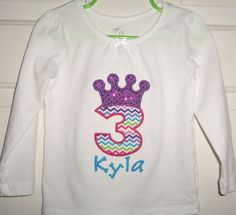 Personalized rainbow chevron princess birthday shirt (with any birthday #) in sizes 9 months through juniors