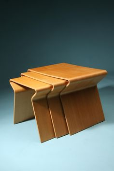 Grete Jalk; Bent Oregon Pine Plywood Nesting Tables for Poul Jeppesen, 1950s.