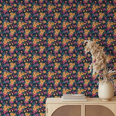 Yellow Floral Pattern Removable Wallpaper, Cool Flower Wall Cling, Botanical Peel and Stick, Modern Home Decor, Decorative Wall Mural Decal - Smooth Wall Decal / 1 roll: 24W x 72H