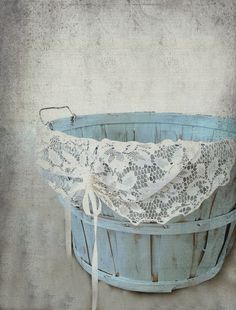 Rustic Painted Large Wood Slatted Basket. Country Barn Wedding Money Card Holder. French Blue Chic Storage