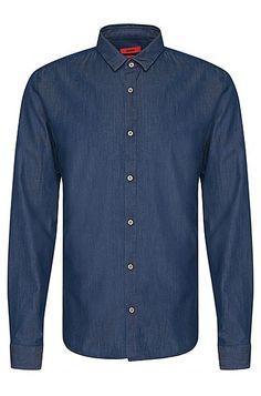 Slim-Fit Hemd aus Baumwolle im Denim-Look: 'Ero3'