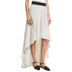 Brunello Cucinelli Striped High-Low Maxi Skirt (15.293.765 IDR) ❤ liked on Polyvore featuring skirts, multi, white ruffle skirt, ruffle skirt, white cotton skirt, long ruffle skirt and maxi skirt
