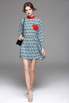 Long Sleeve Stand Collar Floral Printed Dress. #dresses