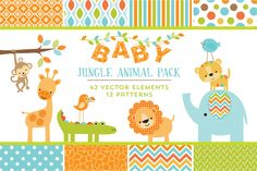 Baby Jungle Animal Pack by Cocoa Mint on Creative Market